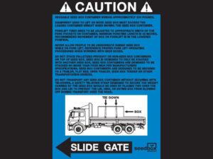 Caution Sticker Left (Blue) $3<br>Case Quantity: 25