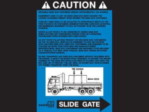 Caution Sticker Right (Blue) $3<br>Case Quantity: 25